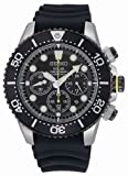 Seiko #SSC021 Men's Rubber Strap 200M Black Dial Solar Diver Watch