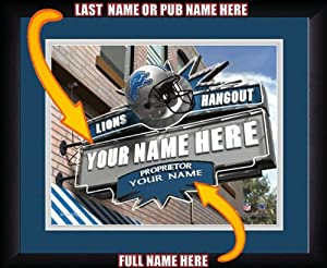 NFL Personalized Sports Pub Custom Framed Hangout Print Detroit Lions Licensed by You