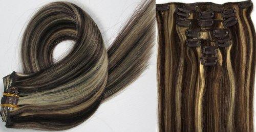 Clip-In-Extensions für komplette Haarverlängerung - hochwertiges Remy-Echthaar - 70g - 38 cm -7tlg- Nr.2/613 mischen