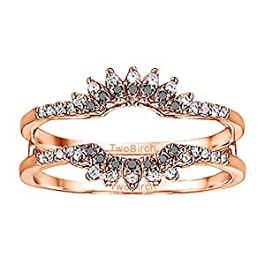 0.22CT Black and White Diamonds Contoured Wedding Ring Jacket set in Rose Gold Plated Sterling Silver (0.22CT TWT Black And G-H I2-I3 Diamonds)