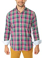 VICKERS Camisa Hombre Harvard (Rosa / Verde / Azul)