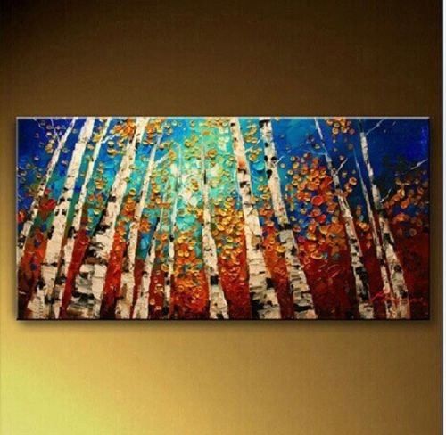 Abstract Tree Acrylic Painting Free Shipping Wood Framed On The Back Knife And Colorful Jungle High Q. Handmade Oil Painting Picture16X24Inch(40X60Cm)