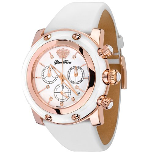 Glam Rock Women's GR10184 Miami Collection Chronograph White Silicone Watch