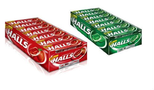 Combo: Halls Sticks, Strawberry, 9-drop Sticks (Pack of 21) + Halls Sticks, Menta-lyptus, 9-drop Sticks (Pack of 21) tings crunchy corn sticks 6 ounce bags pack of 12