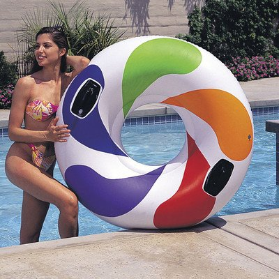 INTEX Inflatable Color Whirl Floating Tube Raft with Handles | 58202EP