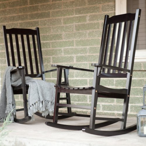 Pair Of Coral Coast Indoor/Outdoor Mission Slat Rocking Chair - Black front-262342