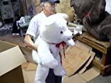 "GIANT 38"" WHITE TEDDY BEAR SMILING BIG SOFT PLUSH NEW * SQUEEZABLY SOFT! * AMERICAN MADE IN THE USA AMERICA"