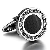 Justeel メンズ ステンレス カフス カフスボタン セット シルバー ブラック ガラスビーズ シャツ (ギフトバッグを提供)