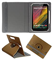Acm Designer Rotating 360° Leather Flip Case For Hp 7 Voice Tab Tablet Stand Premium Cover Golden