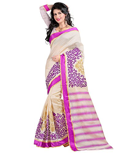 Yashoda Textile Purple Color Chanderi Silk Embrodired Sarees With Un-Stitched Blouse Piece (1y.s_534_Purple)