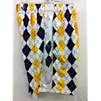 Flow Society Authentic Lacrosse Gear Argyle Yellow/Purple Lax Mesh Short Adult Small