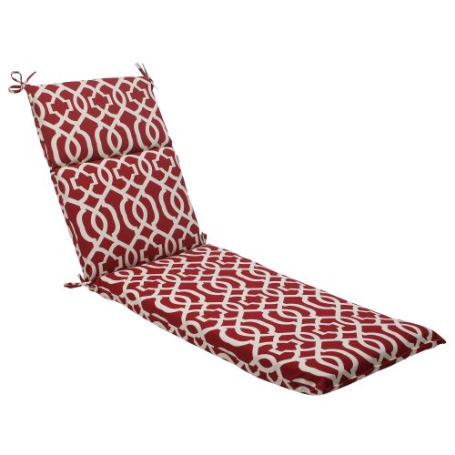 Pillow Perfect Indoor/Outdoor New Geo Chaise Lounge Cushion, Red (Lounge Chair Cushions Outdoor compare prices)