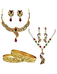 Surat Diamonds Traditional Design & Peacock Shaped Fashion Jewellery Set With 4 Gold Plated Bangles For Women...