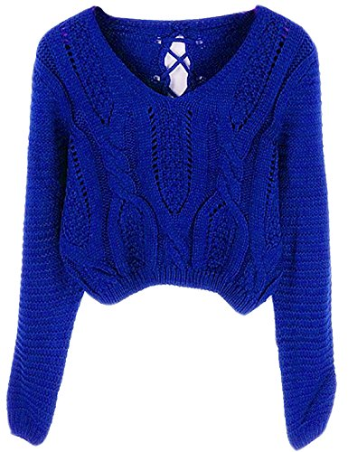 PrettyGuide Women Eyelet Cable Knit Lace Up Crop Long Sleeve Sweater Crop Tops Blue