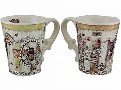 Just Be - Ceramic, Glazed Cool Mug. Vintage Bee & Floral Motif with Decorative Handle. Coffee, Tea or Any Favorite Beverage. Perfect Gift!16 oz.