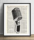 Vintage Microphone Illustration Upcycled Dictionary Art Print 8x10