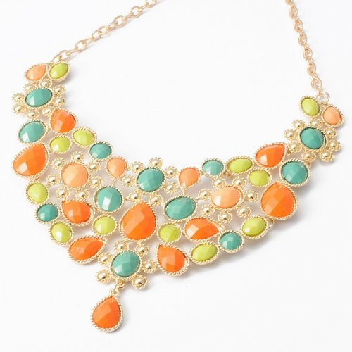 Fashion Golden Chain Water Drop Oblong Colorized Beads Pendant Bib Statement Necklace
