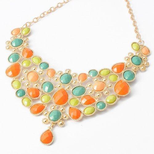 Fashion Golden Chain Water Drop Oblong Colorized Beads Pendant Bib Statement Necklace
