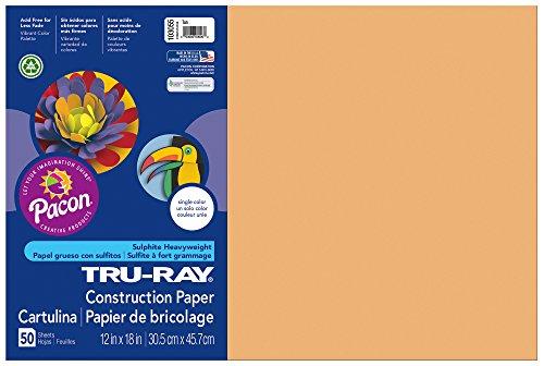 "Tru-Ray Construction paper, 12""X18"", Tan, 50 Sheets - 1"