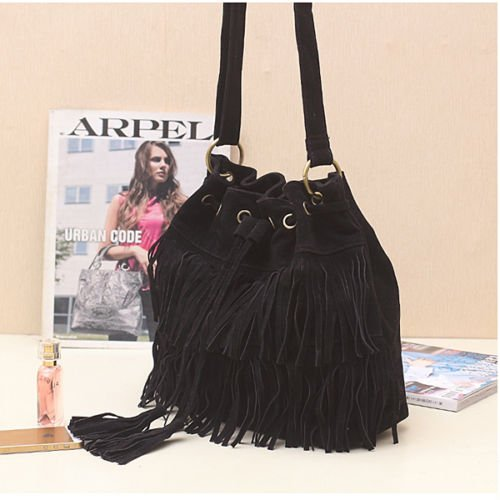 UK Woman Tassel Fringed Messenger Cross Body