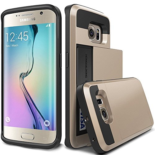 OnPrim Luxury Dual Layer PC TPU And Silicone Rubber Hybrid Card Carry Pocket Wallet Slot Protective Cell Phone Case For Samsung Galaxy S7 Edge 5.5 Inth Gold
