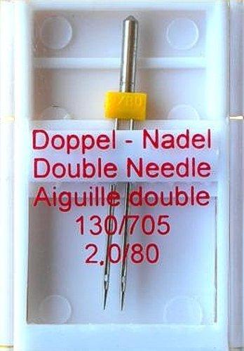 1 Stück 2,0 / 80 Doppel - Nadel  130/705 für Nähmaschine ( Zwillingsnadel Nähmaschinennadel )
