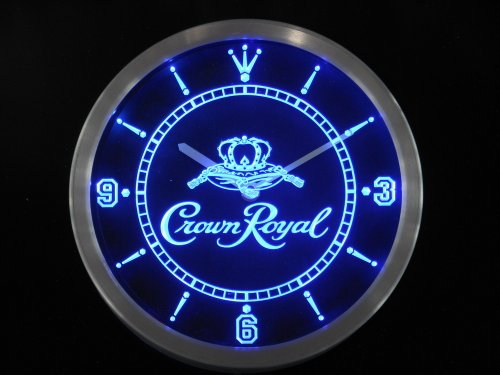LED Neon Light Wall Clock CROWN ROYAL BEER Bar Cafe Pub Restaurant - Free Shipping