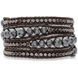 Rafaela Donata - Bracelet en cuir véritable - Cuir véritable hématite, bracelet hématite, collier en cuir véritable, bijoux en cuir, bijoux en hématite - 60831006