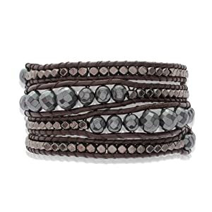 Rafaela Donata - 60831006 - Bracelet Femme - Cuir Véritable - Marron foncé - Hématite - Perle - Méral Argenté