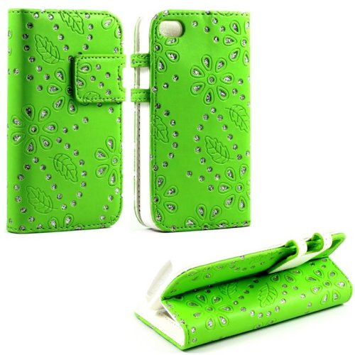Mylife (Tm) Bright Green And Glittery Flowers Design - Textured Koskin Faux Leather (Card And Id Holder + Magnetic Detachable Closing) Slim Wallet For Iphone 4/4S (4G) 4Th Generation Touch Phone (External Rugged Synthetic Leather With Magnetic Clip + Inte