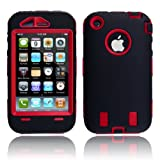 DC Hard Case w/ Soft Skin Rubber Silicone Cover for Iphone 3g 3gs Black / Red