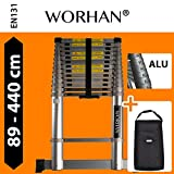 WORHAN® 4.4m (14' 5'') Telescopic Extendable Multipurpose Aluminium Extension Ladder WITH ALUMINUM RINGS and Stabilizer Bar Step Ladder (4.4m ladder   bag)