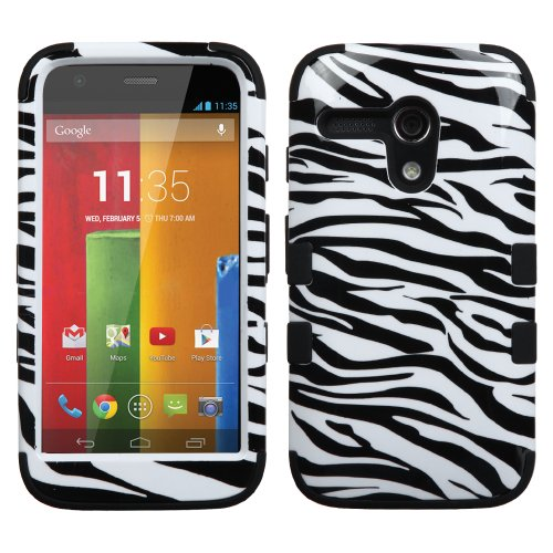 Thousand Eight(Tm) For Motorola Moto G Hard Plastic Dual Layer Tuff Shield Heavy Duty Protective Case + [Free Lcd Screen Protector Shield(Ultra Clear)+Touch Screen Stylus] (Tuff Zebra Skin/Black)