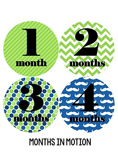 Months in Motion 041 Monthly Baby Stickers Milestone Age Photo Prop Boy Mustache