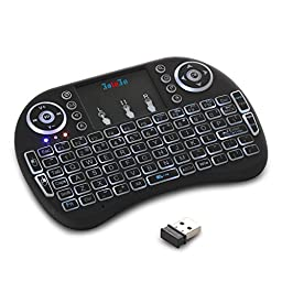 FotoFo Backlit model 2.4G Mini Keyboard Wireless Backlight USB Interface Adapter Air Touch Backlit LED For Google Android Tv Box,Pc, Pad, Xbox 360, Ps3, Htpc, Iptv Other Games