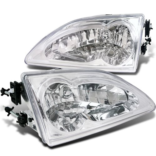Ford Mustang Euro Crystal Chrome Clear Headlights Head Lamps Pair