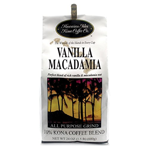 Hawaiian Isles Coffee Co. Vanilla Macadamia 24 Oz Grind