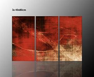 abstraktes bild f r ihre wohnung 3 teiliges leinwandbild abstrakt deep red 3x40x80cm die farbe. Black Bedroom Furniture Sets. Home Design Ideas