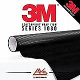 3M Di-Noc Carbon Fiber Matte Black Vinyl Car Wrap Film Sheet Roll - CA421 - 1ft x 4ft (4 sq/ft) (12