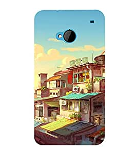 printtech Chinese City Buildings Abstract Back Case Cover for HTC One M7