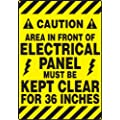 "Accuform Signs PSR640 Slip-Gard Adhesive Vinyl  Mat-Style Floor Sign, Legend ""CAUTION AREA IN FRONT OF ELECTRICAL PANEL MUST BE KEPT CLEAR FOR 36 INCHES/PRECAUCION EL AREA EN FRENTE DEL CUADRO ELECTRICO DEBE PERMANECER LIBRE POR 36 PULGADAS"", 14"" Width x 20"" Length, Black on Yellow"