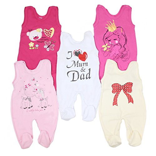 5er Pack Baby Strampler mit Aufdruck Spruch Mädchen Strampelanzug Jungen Babystrampler mit Fuß 100% Baumwolle , Farbe: Mädchen, Größe: 68