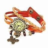 Shopizone Fancy Vintage Retro Butterfly Watch for Women - Orange