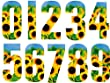 Pack of 3 Wheelie Bin House Numbers - Sunflower Number 4