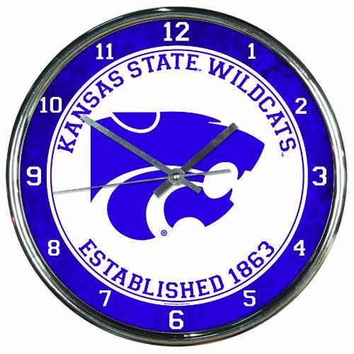 NCAA Kansas State Wildcats Chrome Clock