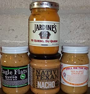 Texas Nacho Queso Cheese Dip Sampler 16oz Jars (Pack of 4 Different Dips)