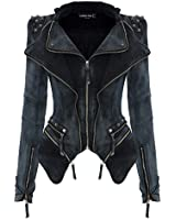 LookbookStore Sharp Power Studded Shoulder Notched Lapel Denim Jeans Tuxedo Coat Blazer Jacket
