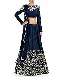 FabTexo Embroidered Blue Georgette Women's Lehenga