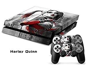 Harley Quinn Exclusive Original Decal Skin Stickers For Sony Playstation 4 PS4 Console + 2 Pcs Stickers For PS4 Controller ...