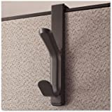 Recycled Cubicle Coat Hook, 2 Hook, Plastic, Charcoal